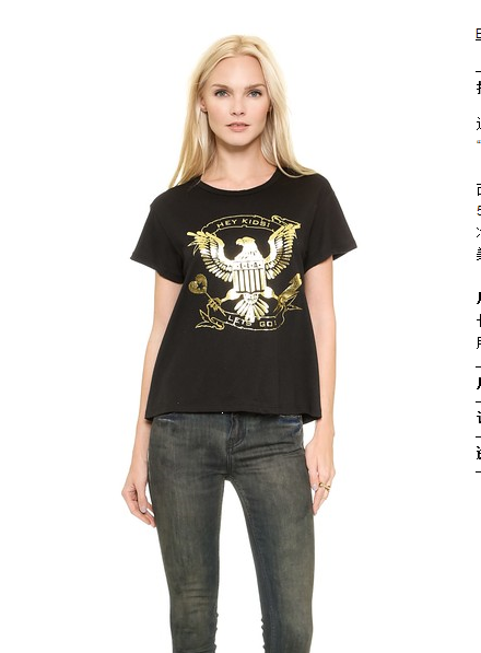 European Fashion Women Gold bird print basic black cotton ...