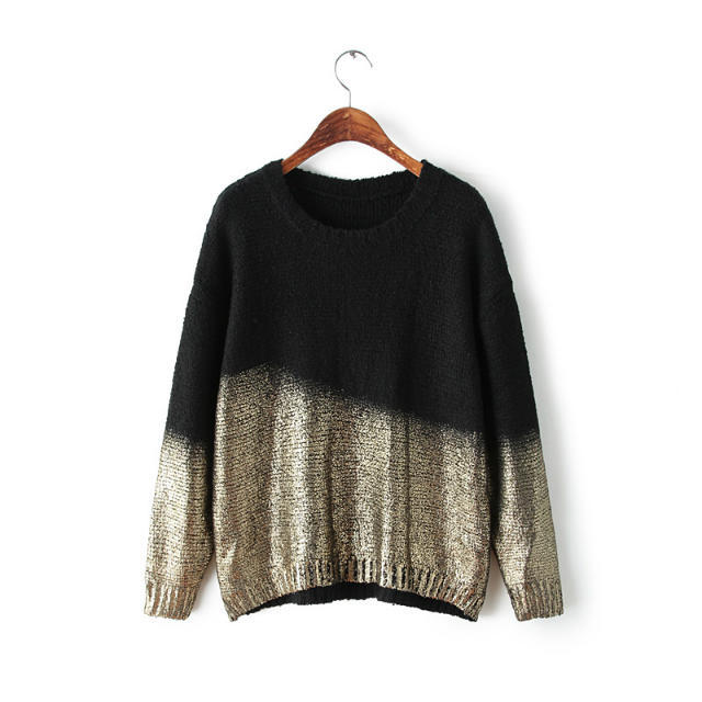 European Fashion Women Knitted sweaters Gradient color ...