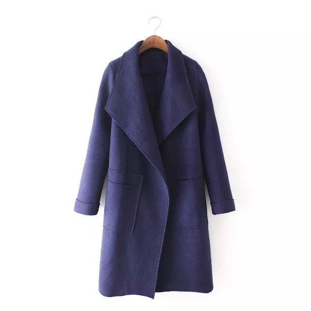 European Fashion Women Pockets Female vintage blue Woolen ...