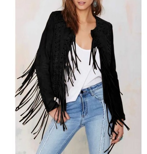 European Fashion Women tassel black Faux leather jacket ...