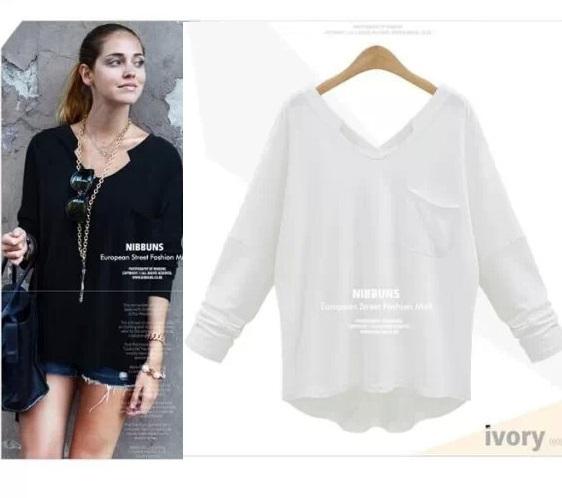 European Fashion Women White T-shirt basic O-neck Backless ...