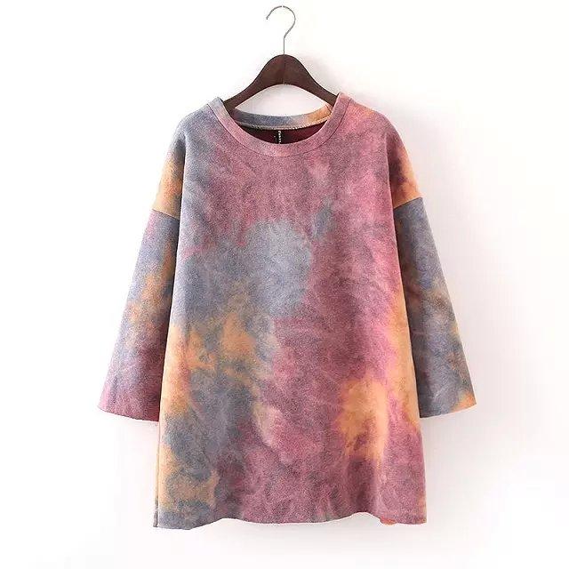European Fashion women winter thick warm Tie dye Sweatshirts ...