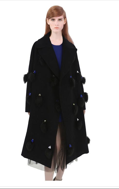 European Fashion women Winter warm black fur Diamonds ...