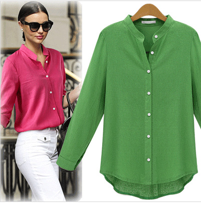European Fashion women work vintage Brief blouse long ...