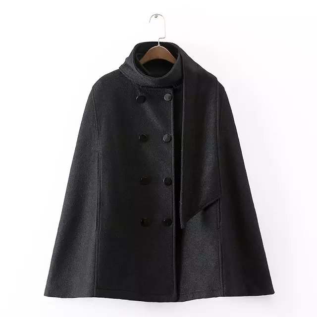European style Fashion Vintage Women Winter Black woolen ...