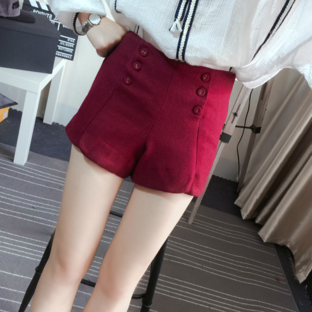 Fashion American style Women winter Red woolen button ...