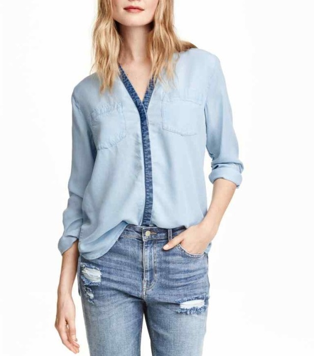 Fashion Autumn blue Patchwork Denim shirts blouses For ...