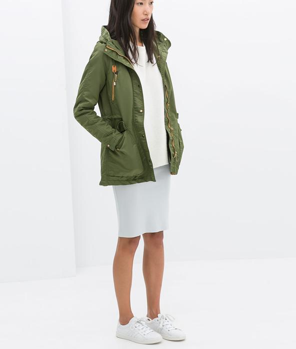 Fashion Autumn elegant Army green Pocket Zipper hooded ...