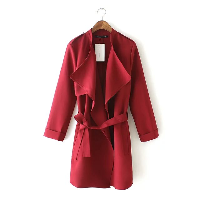 Fashion Autumn elegant Belt trench coat for women long ...