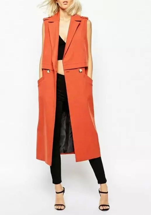 Fashion Autumn elegant Double Breasted Sleeveless trench ...