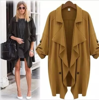 Fashion Autumn elegant Irregular trench coat for women ...
