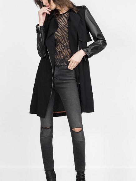 Fashion Autumn elegant Zipper Faux Leather Sleeve trench ...