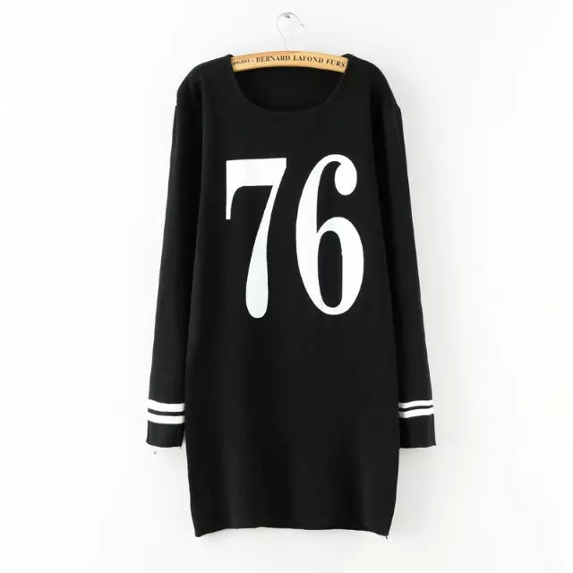 Fashion Autumn Knitted sweater number pattern Straight ...