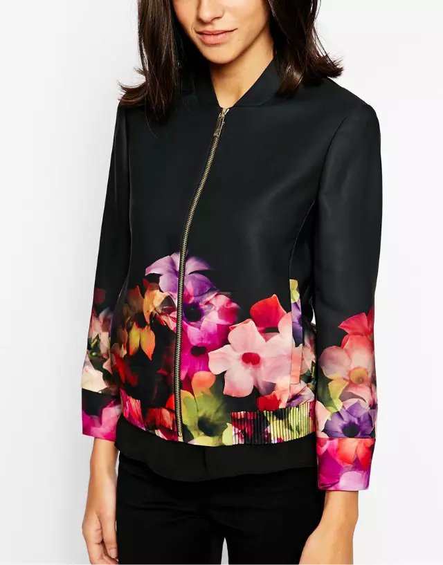 Fashion Autumn red flower print coat outwear zipper ...