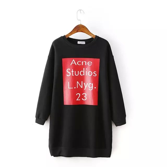 Fashion Autumn Thick cotton black Letter Print mini Straight sport Dresses for Women Side open long Sleeve Casual brand