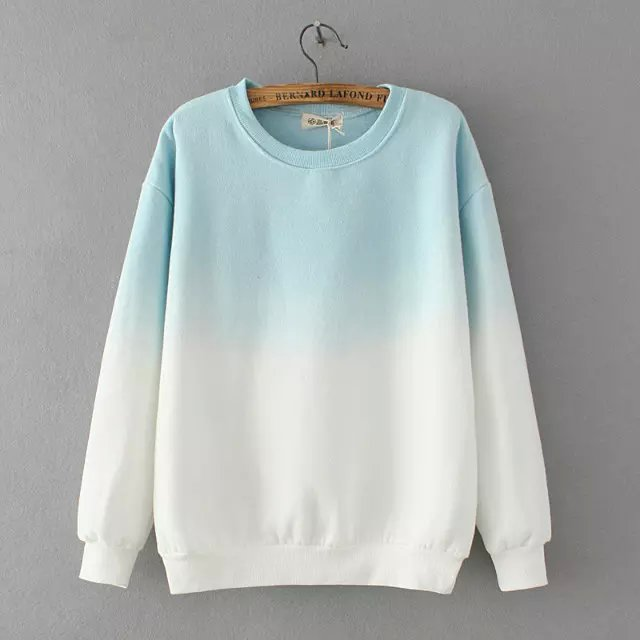 Fashion Autumn thick Gradient color sport pullovers ...