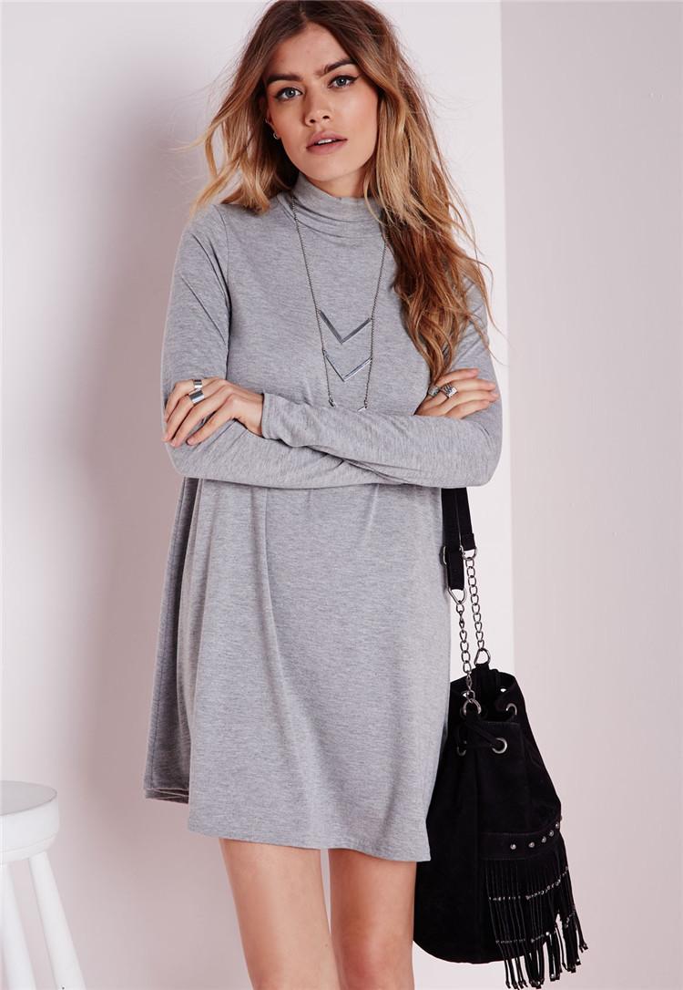 Fashion Autumn women gray Straight mini dress Long Sleeve ...