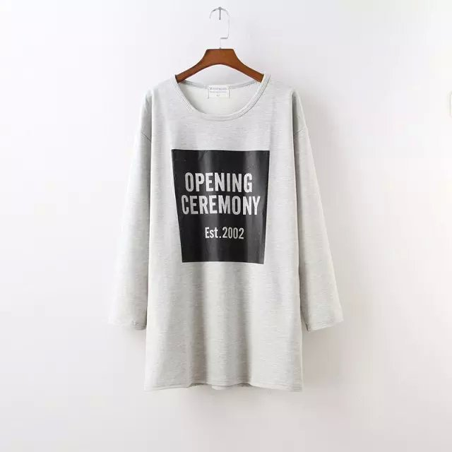 Fashion Autumn Women Tee Letter Print Double pocket ...