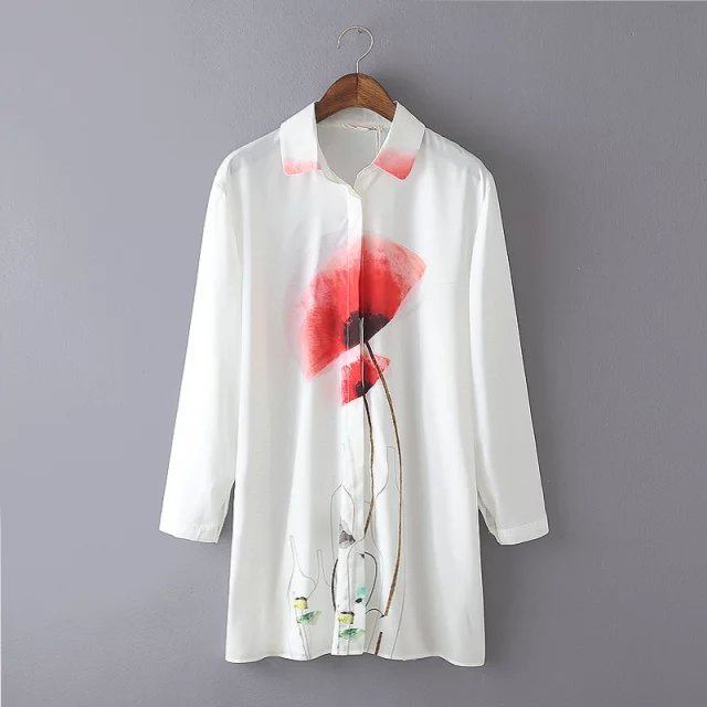 Fashion Autumn Women White Floral Print Long Shirt Dresses ...