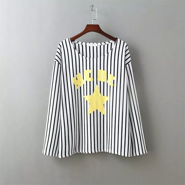 Fashion Autumn Women Yellow star Letter Stripe Print ...