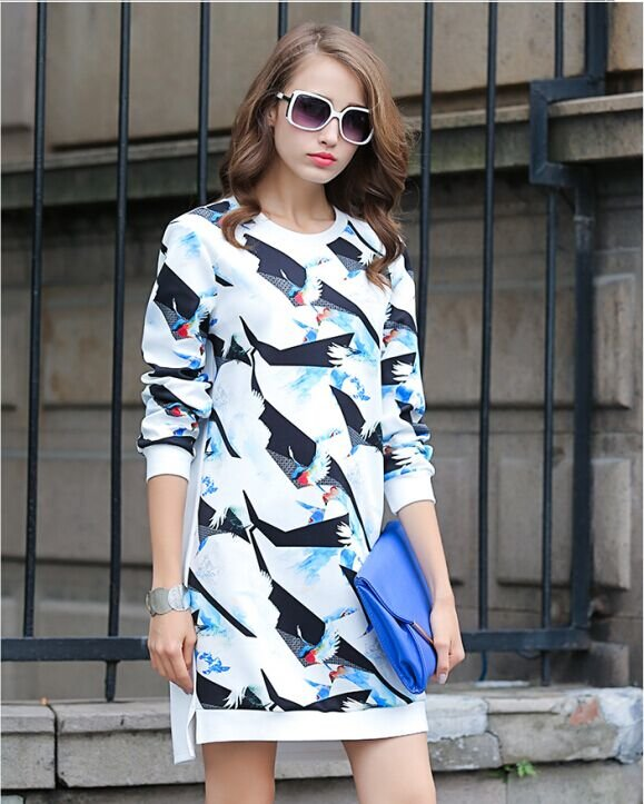 Fashion Autunm women elegant Bird print Dress O-neck ...