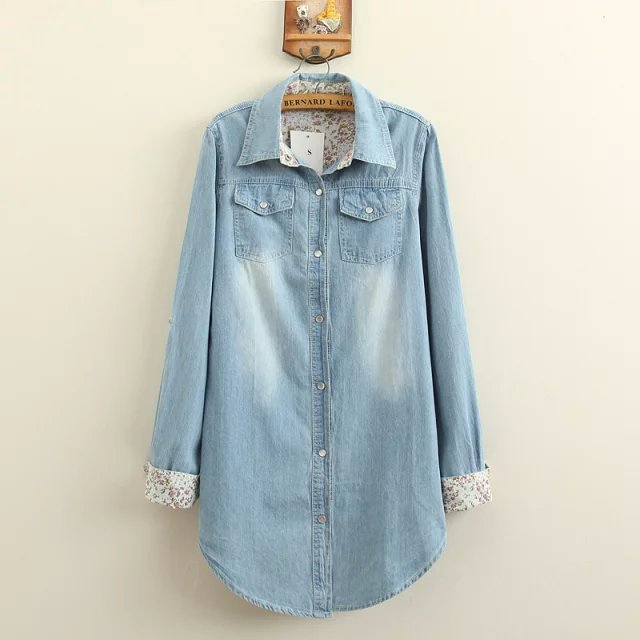 Fashion blue Denim shirts Long blouses For Women long ...