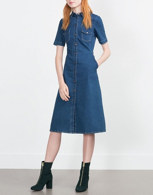 Fashion Blue Stretch Denim Dresses for women Pocket Turn-down Collar Button short sleeve casual jeans vestidos female
