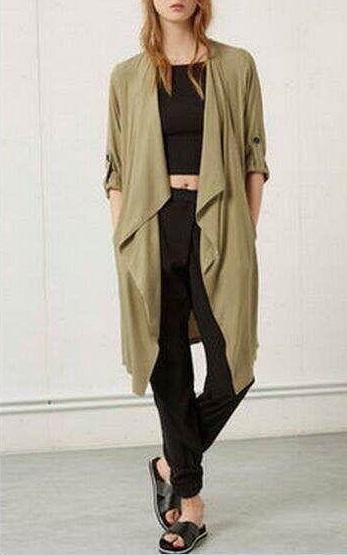 Fashion british Style Office lady elegant Long Irregular trench coat for women Casual loose brand windbreaker female