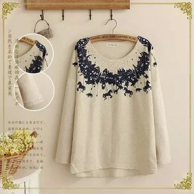 Fashion Cartoon print Gray cotton pullovers for women ...
