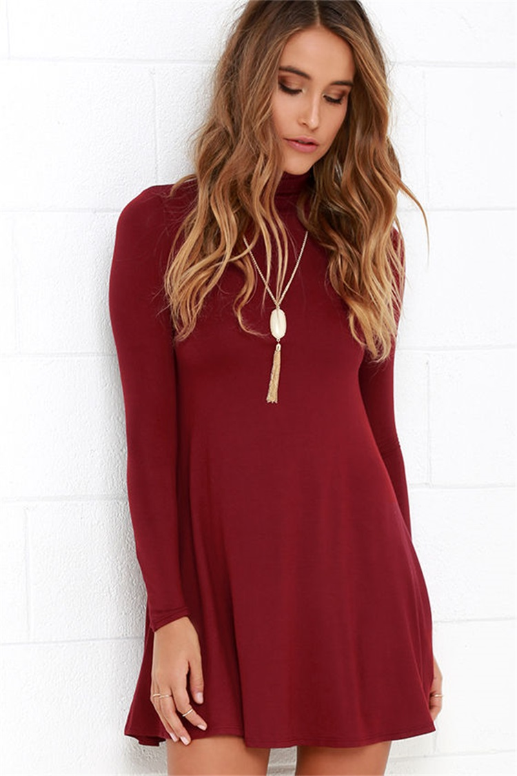 Fashion Elegant American Appearl red Pleated Mini Dress ...