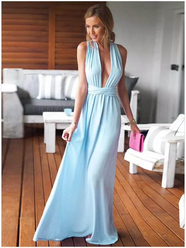 Fashion Elegant Blue Deep V-neck Party Wedding Long ...