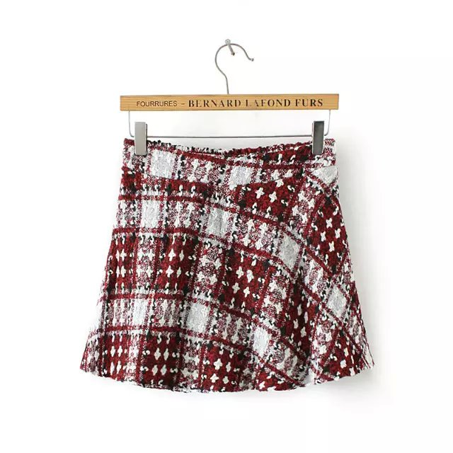 Fashion Elegant British Style winter woolen red plaid ...