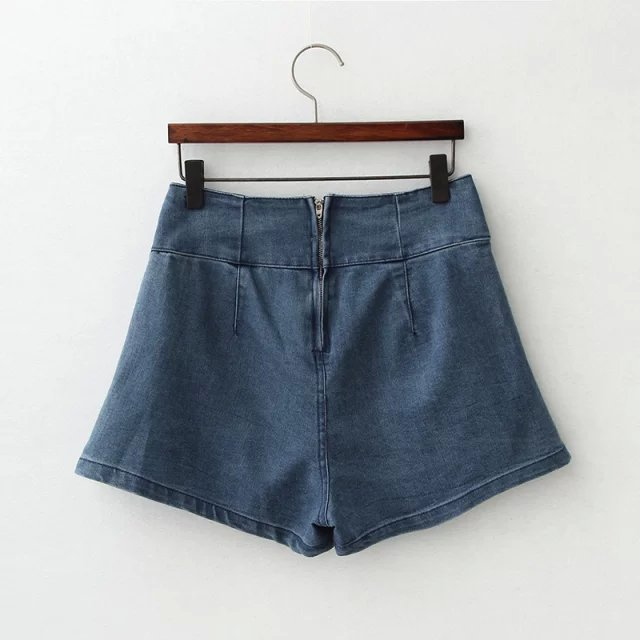 Fashion Elegant Denim Blue Zipper shorts pockets Loose ...