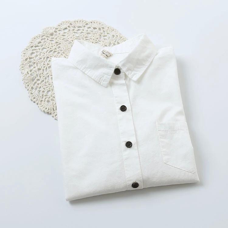 Fashion elegant women turn-down collar white cotton ...
