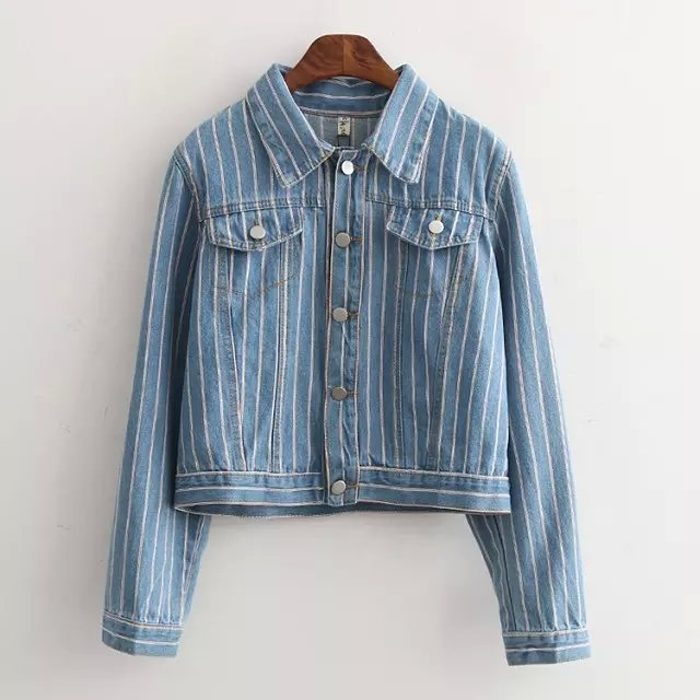 Fashion European Style Blue Denim vintage striped print ...