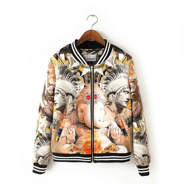 Fashion European Winter marbles print coat outwear zipper ...