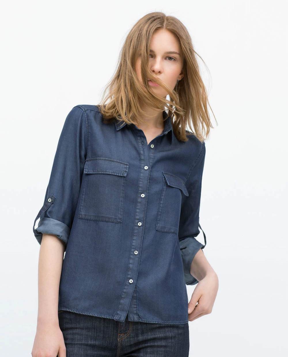 Fashion Female elegant blue Denim shirts blouses For ...