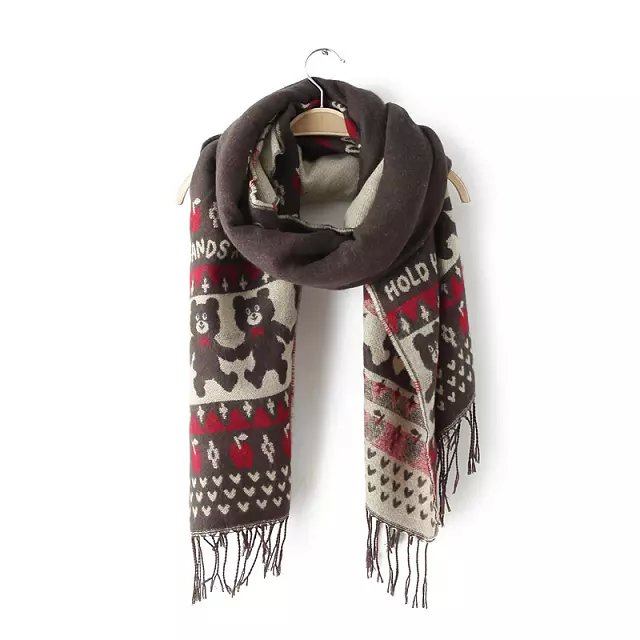Fashion Korean Scarf For Women Winter Wool Bear Pattern ...