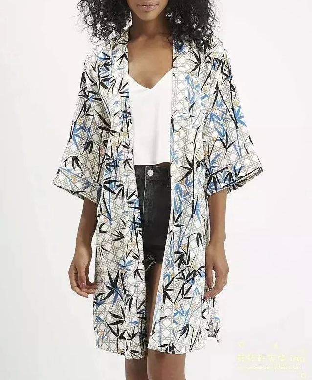 Fashion Ladies elegant Bamboo print long Kimono For ...