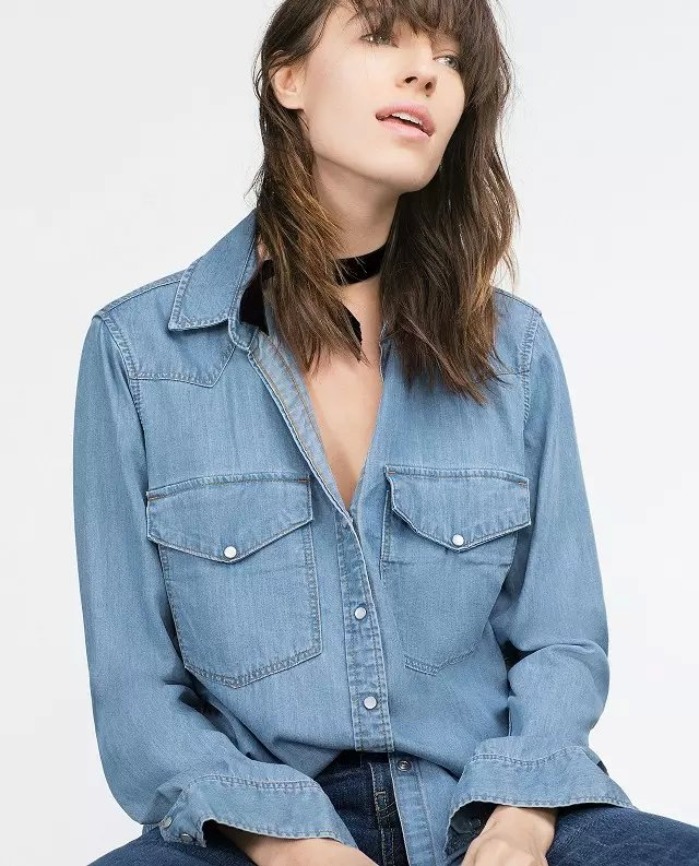 Fashion Ladies elegant blue Denim shirts blouses For ...