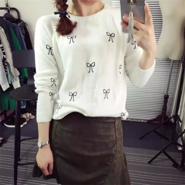 Fashion Ladies Elegant embroidery Bow Tie pullover sweater ...