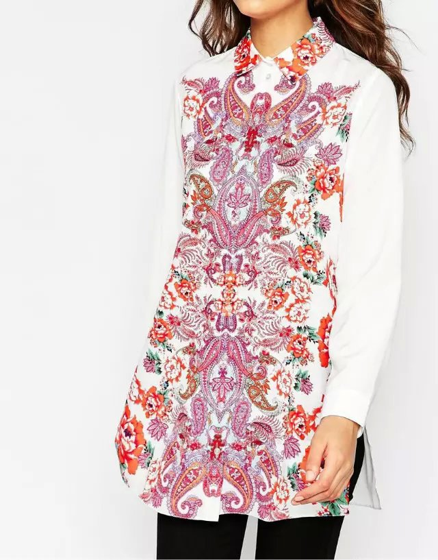 Fashion Ladies' elegant Paisley Floral print button ...