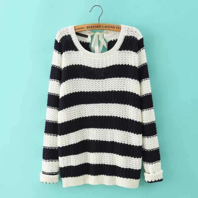 Fashion Ladies' vintage sexy back Bow Striped Pullover ...