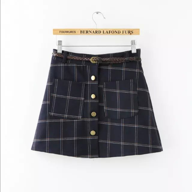 Fashion Lady school style plaid print mini skirts vintage ...