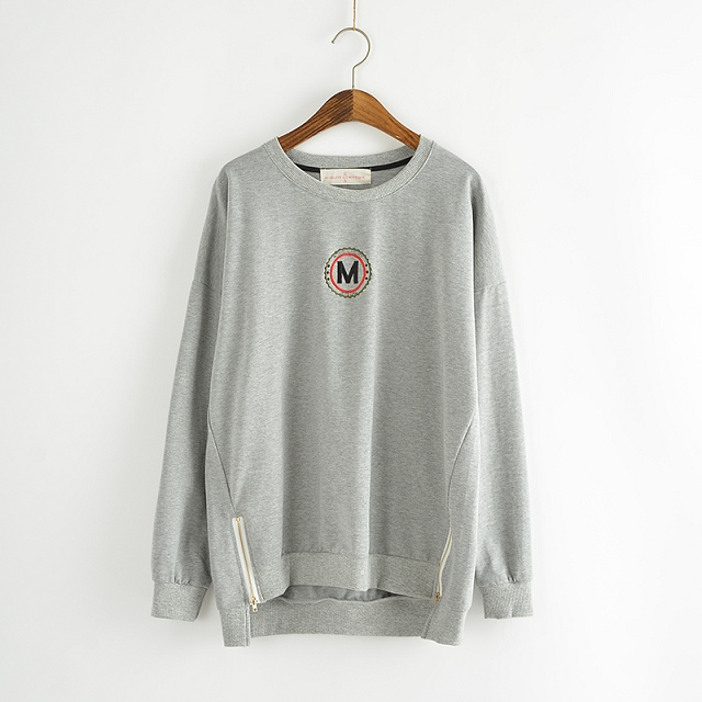 Fashion Letter Embroidery Gray side zipper sport pullovers ...