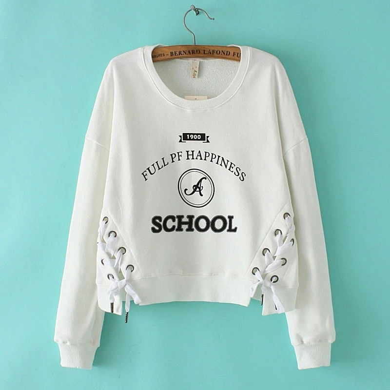Fashion Letter print white drawstring pullovers for ...