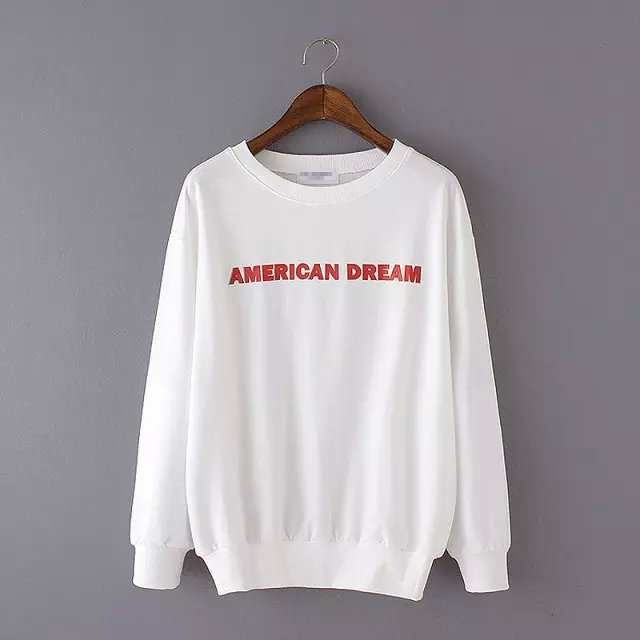Fashion Letter print white sport sport pullovers for ...