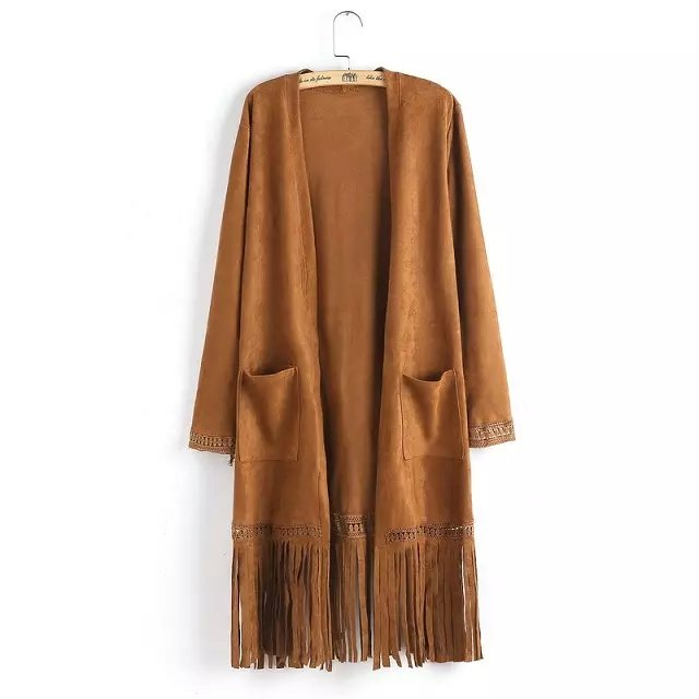 Fashion Long Suede Jacket Tassel Pocket for Women Casual ...