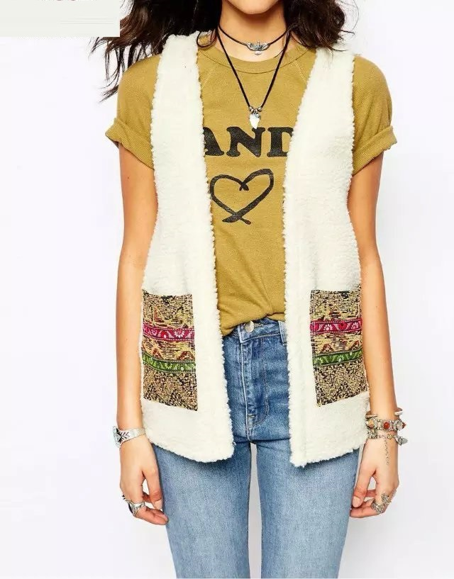 Fashion Lovely White sleeveless Patch Pocket Fleece ...
