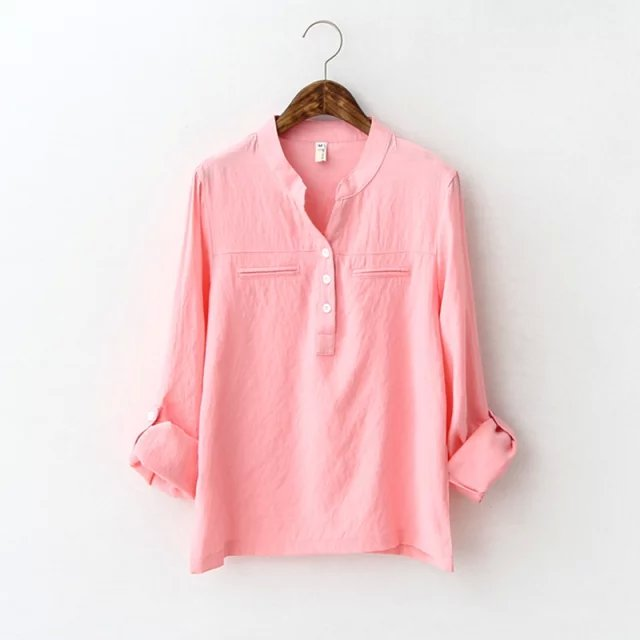 Fashion Office Lady pink Blouse for women Elegant Casual ...